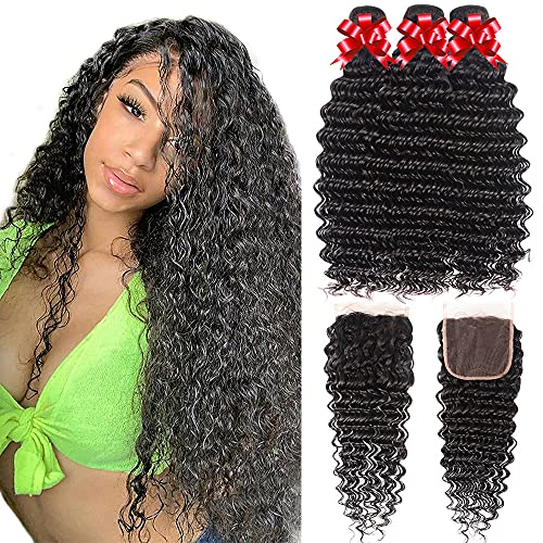 Brazilian Deep Wave Bundles with Lace Closure 100% Human Hair Unprocessed Virgin Hair Wet and Wavy Curly Hair Weave 3 Bundles with 4x4 Lace Closure Free Part Natural Color (28 28 28+20)