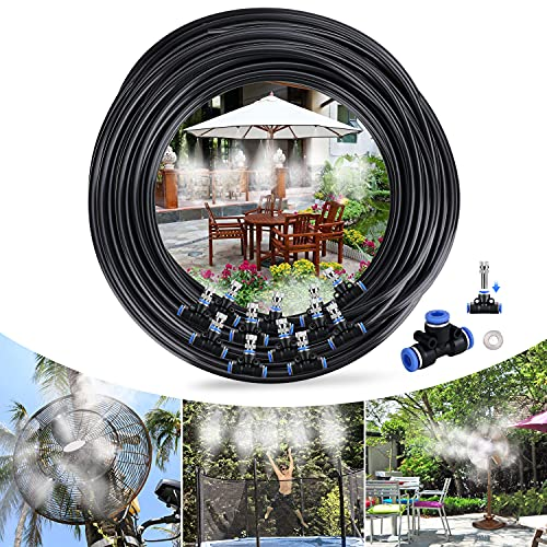 Tencoz Sistema de Enfriamiento Nebulización, 15M 18 Boquilla Sistema de nebulización para Exteriores, Kit Nebulizadores para Terrazas para Trampolín, Parque Acuático, Sombrilla, Glorieta