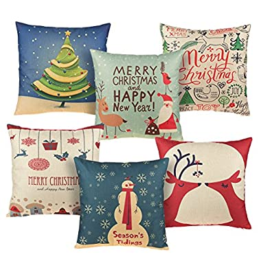 Set of 6 Christmas Throw Pillow Covers - Christmas Pillow Cases, Throw Pillow Decor, Holiday Season Decorations for Couch, Chair, Sofa, Assorted Designs - 17.7 x 17.5 Inches