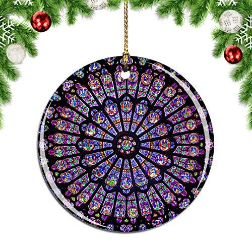 Weekino France Notre Dame de Paris Windows Christmas Xmas Tree Ornament Decoration Hanging Pendant Decor City Travel Souvenir Collection Double Sided Porcelain 2.85 Inch