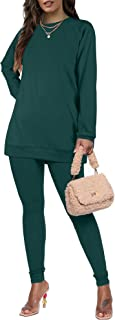 Womens Sweatsuits Round Neck Two Piece Outfits Long Sleeve