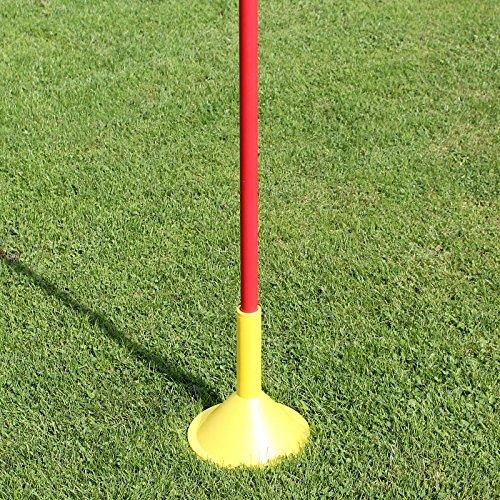 Superspieler24 5 x Slalomstange 170 cm mit Standfuß für Fußballtraining (rot)