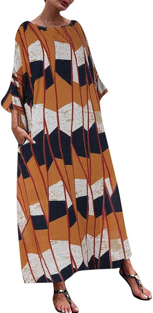 aihihe Womens Loose Long Casual Plus Size Dress 3/4 Sleeve Pocket Print Kaftan Beach Maxi Long Dress(L-5XL)