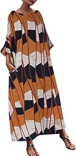 Women's Casual Daily Women Casual Plus Size Print Splice Kaftan Fashion Loose Linen Long Maxi Dress (Orange, XXL)