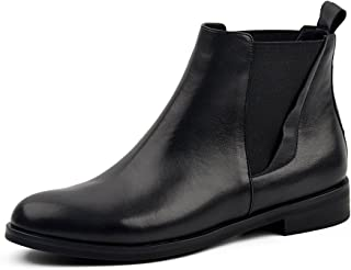 d104b759e43a DONNAIN Women Genuine Leather Boots Spring Flat Heel Round Toe Chelsea  Shoes Ankle Booties for Women