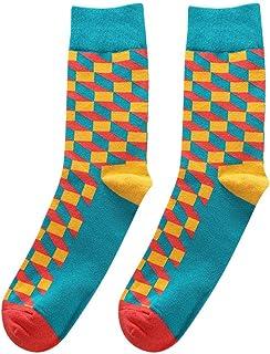 169b15ece4d8 ABCOnline Mens Fashionable Cotton Color Block Socks Warm Colorful Stockings  Casual Sock