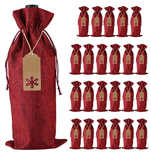 Sackleinen Wein Geschenkbeutel, 24 Stück Jute Kordelzug Wein Flaschenverschlüsse mit Seilen und Tags für Weihnachten, Hochzeit, Reisen, Geburtstag, Weihnachtsfeier