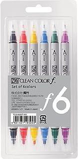 Kuretake Zig Twin Tip Marker Clean Color F, 6 Color Set (TCS-6000T/6V)