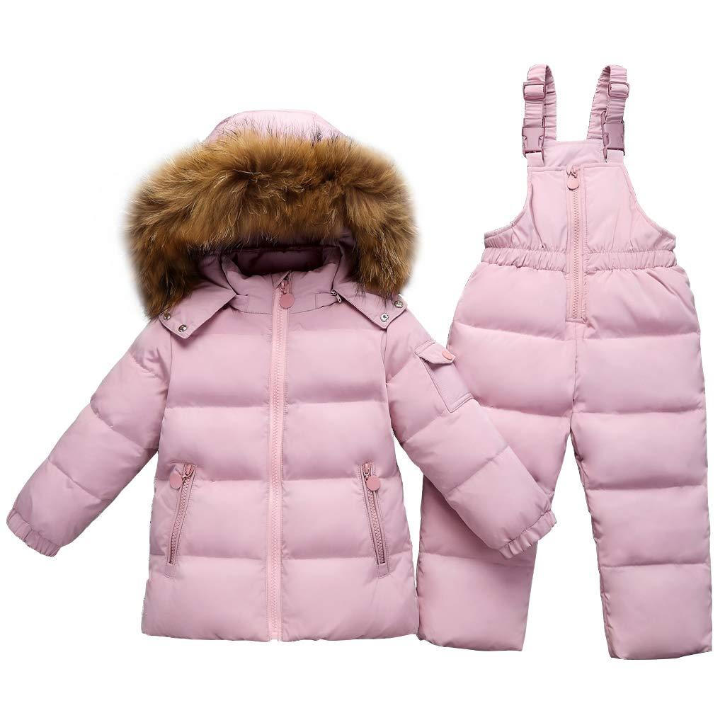 Girls Snowsuit Set 2-Piece Winter Puffer Jacket and Snow Pants Ultralight Skisuit Set Pink 2-3 Years