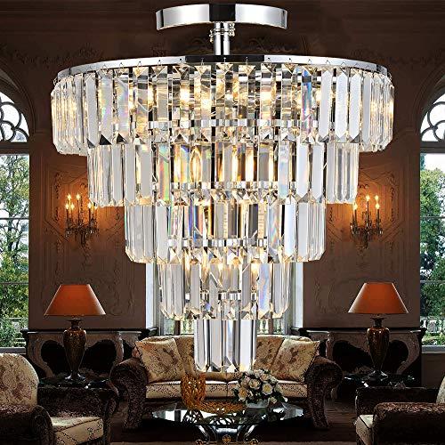 Modern Crystal Chandelier 10 Lights Dimmable Pendant Ceiling Lighting Fixture Semi Flush Mount Ceiling Light for Living Room Bedroom Dining Room,Diameter 49.5cm, E14 Bulb Base. Chrome Finish …