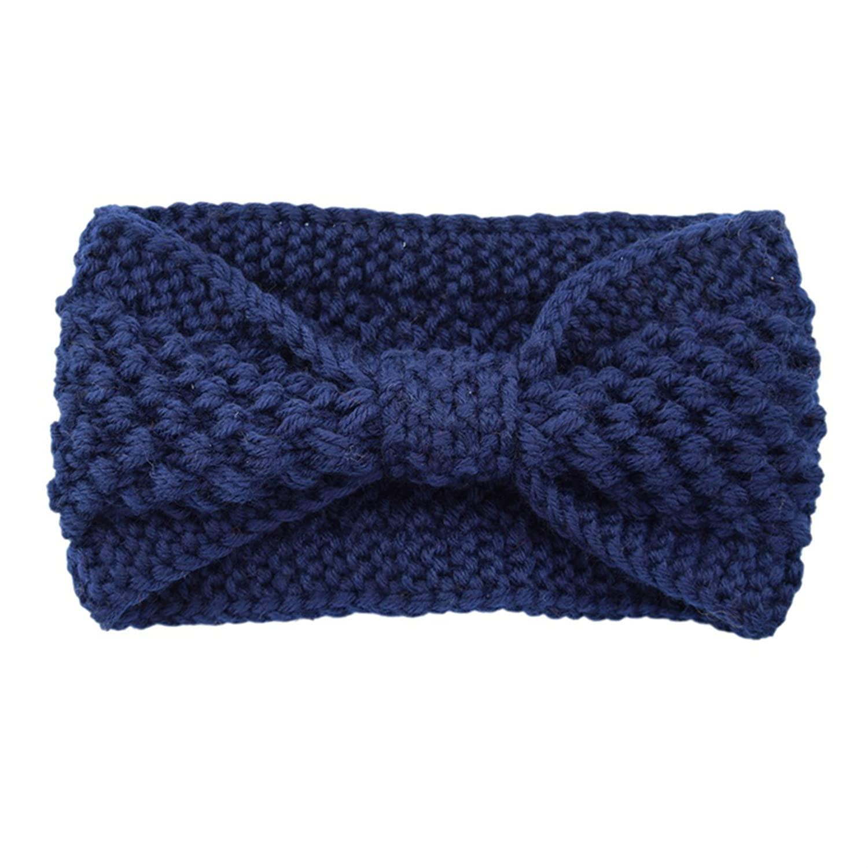 Winter Knitted Crochet Bow Wide Headband Elastic Headbands Turban For Women Girls Knitting Wool Hairband Warmer Hair Accessories Navy Blue