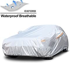 GUNHYI Oxford Car Covers Waterproof Windproof All Weather for Automobile, Snow Sun Rain UV Protective Outdoor, Fit Sedan (Length 180-191 Inch)