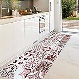 alfombra vinilo cocina rojo