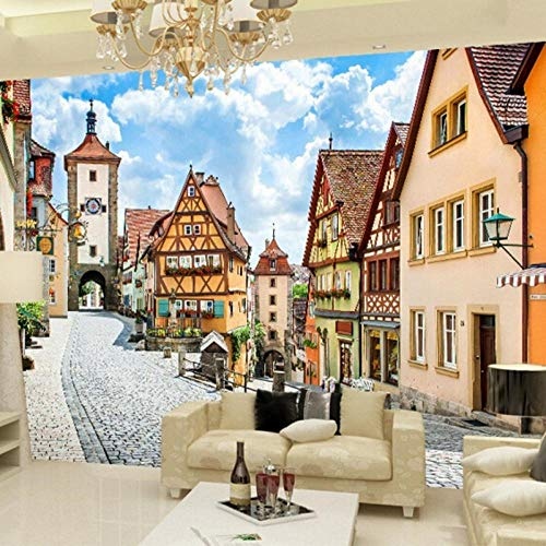 Behang 3D stereoscopische stijl gebouw in de stad behang woonkamer achtergrond kamer behang wgop 250 cm x 175 cm.