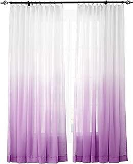 ChadMade Indoor Outdoor Gradient Ombre Sheer Curtain Pinch Pleat Violet 150