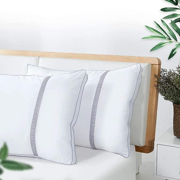 用于睡觉的床层枕头酒店系列豪华特大枕头一套 2 个羽绒另类优质床头枕头用于背部腹部侧卧中等手感枕头