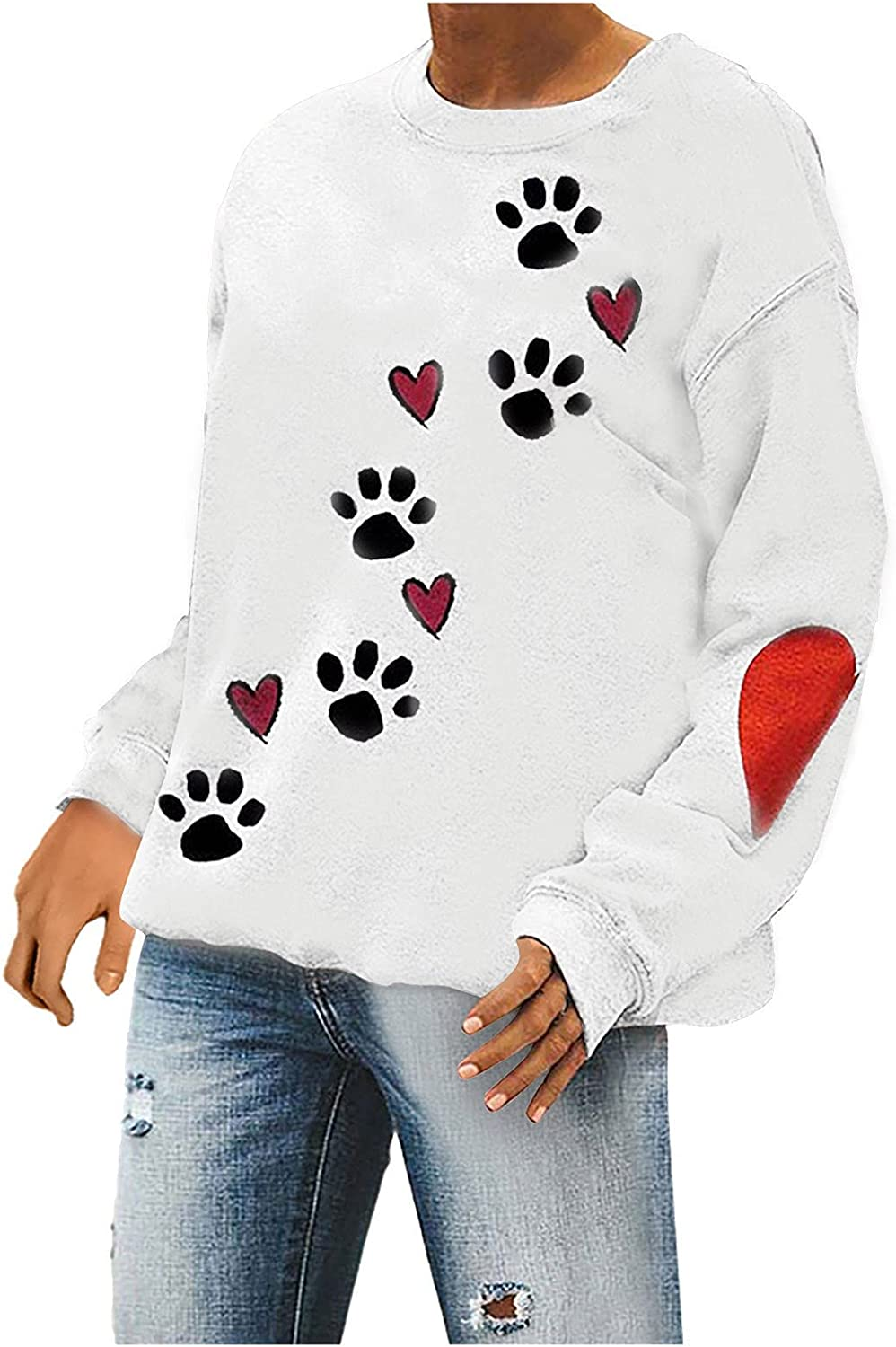 Women's Sweatshirts Pullover Crew Neck Long Sleeve Winter Tunic Tshirt Dog Paw Print Loose Fit Sweaters Jumper Tops