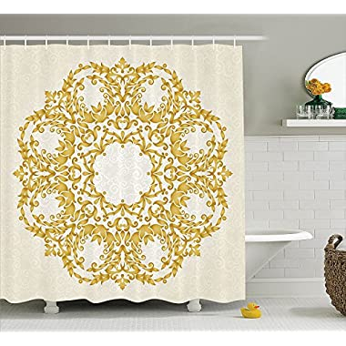 Ambesonne Victorian Shower Curtain, Traditional Floral Round Circle with Baroque Elements Turkish Ottoman Style Art, Fabric Bathroom Decor Set with Hooks, 70 Inches, Cream Yellow