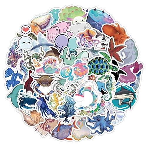Marine Animal Stickers Children Cute Cartoon Jellyfish Shark Whale Octopus Stickers To Refrigerator Water Station 50Pcs