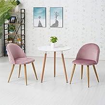 OFCASA zestaw 2 krzeseł do jadalni, różowy aksamit, tapicerowane siedzisko, kuchenny fotel wypoczynkowy o wyglądzie drewn...