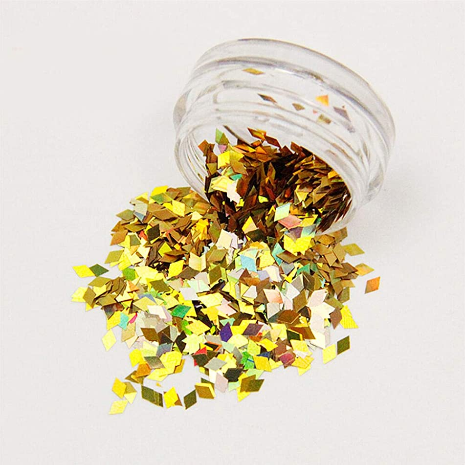14 Colors Diamond Nail Sequins Studs Glitter Nail Art Manicure Craft Decor Tool (Color - Gold)