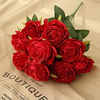 Jasion Artificial Roses Flowers 10 Heads Arrangement Silk Bouquet Glorious Moral for Home Office Parties and Wedding Decor...