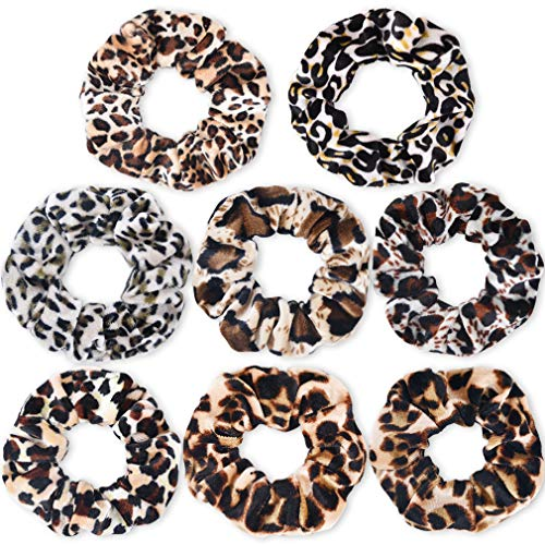 Leopard Scrunchie Hair Ties Leopard Print Scrunchies Velvet Scarf Elastics Hair Bands Ropes for Women or Girls Ponytail Holder Accessories Pack of 8