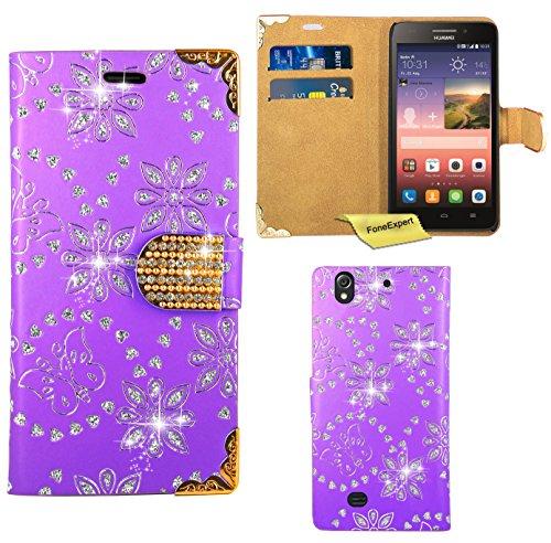 Huawei Ascend G620S Handy Tasche, FoneExpert® Bling Luxus Diamant Hülle Wallet Case Cover Hüllen Etui Ledertasche Premium Lederhülle Schutzhülle für Huawei Ascend G620S / Huawei Honor 4 Play (Lila)