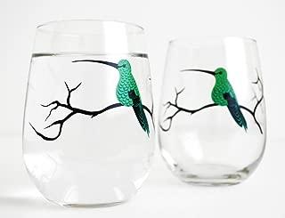 Hummingbird Stemless Glasses - Set of 2 Hummingbird Glasses, Stemless Wine Glasses, Bird Glassware