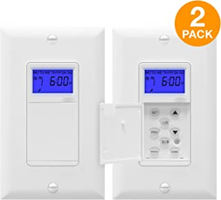 TOPGREENER TGT01-H-2PCS Astronomical Timer Switch, Astronomic 7-Day Digital Programmable Timer, Sunrise Sunset Timer, with Interchangeable Face Cover, Dusk to Dawn, Neutral Wire Required, 2-Pack