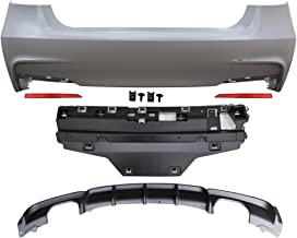Rear Bumper Cover Compatible With 2012-2018 BMW F30 | 3 Series MP Style Rear Bumper Conversion Diffuser Twin Muffler Twin Outlet by IKON MOTORSPORTS | 2013 2014 2015 2016