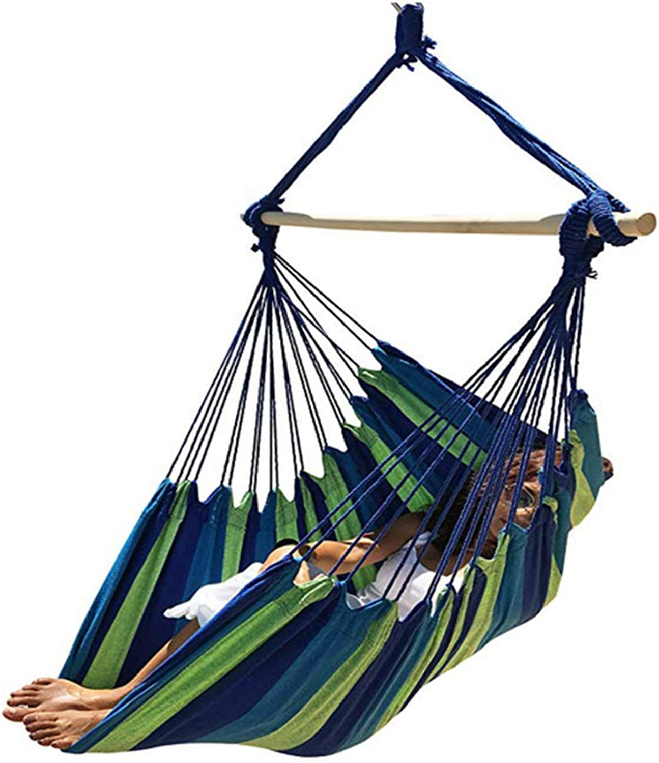 Large Brazilian Hammock Chair Quality Cotton Weave for Superior Comfort & Durability - Extra Long Bed - Hanging Chair for Yard, Bedroom, Porch, Indoor Outdoor