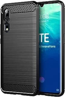 Axon 10 Pro case,ZTE Axon 10 Pro case,MAIKEZI Soft TPU Brushed Anti-Fingerprint Full-Body Protective Phone Case Cover for ZTE Axon 10 Pro 5G(Black Brushed TPU)