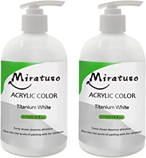 Miratuso White Acrylic Paints-Titanium White Acrylic Paint-Craft Paint 32oz/1000ml Excellent Coverage Mixable for Canvas P...