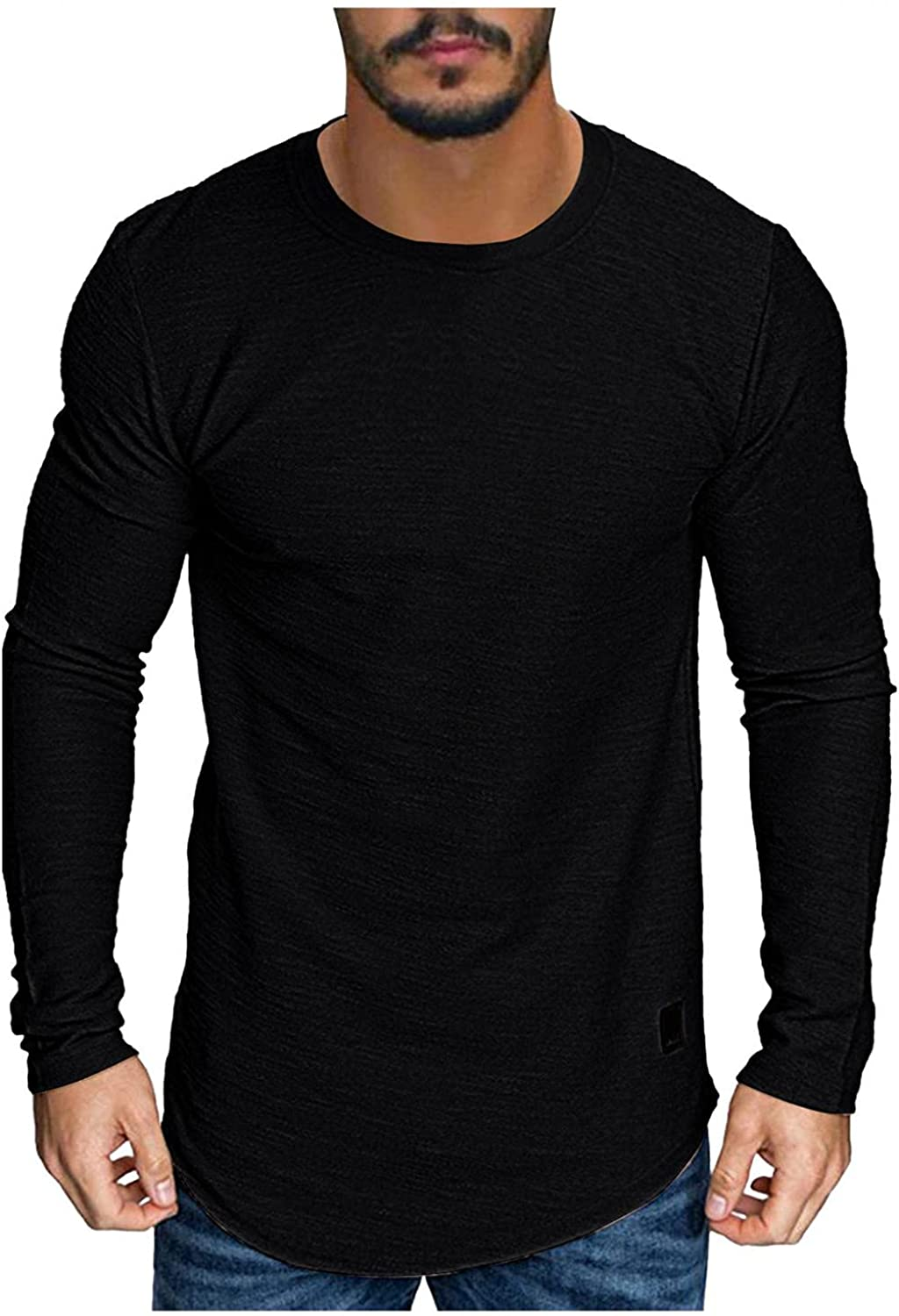 Mens Shirts Men's Casual Basic Dark Solid Color Jacket T-shirt Long Sleeve Tee Shirts for Men Top Blouse Polo Shirts for Men