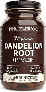 Primal Health Foods Organic Dandelion Root - 60 Capsules 1,000 mg Per Capsule [Vegetarian, Organic, Non-GMO & Gluten Free]