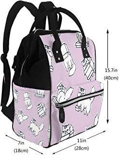 Water-Resistant Baby Bags Funny Pattern with Grumpy and Melancholic Cat Playing Carton Box Diaper Bags Backpack