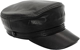 Maylian Black Genuine Leather Army Military Hat Soldier Cadet Cap For Men