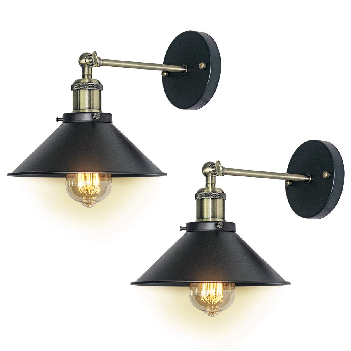 E26/E27/base black Industrial Vintage Edison Wall Lamp Fixture Simplicity Steel Finished Wall Ceiling Lamp locuss Wall Sconces Light 2/Packs Bulb Not included