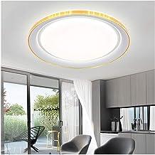 LZQBD Plafondlamp dunne led-slaapkamer rond smeedijzer acryl goud huis woonkamer balkon lamp 51 cm, goud, 51 * 7 Cm-220V