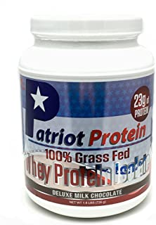 Patriot Protein - Grass Fed Whey Protein Isolate- Protein Powder - Premium Protein Made in the USA- Deluxe Milk Chocolate- 25 Servings- 1.6 Pounds