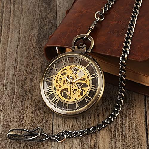 NZDY Reloj de Bolsillo Clásico Reloj de Vendimia Collar Esqueleto Mecánico Reloj de Bolsillo Reloj Reloj Colgante Herida Mano Hermosa Y Mujeres Cadena Regalos Vintage Reloj de Bolsillo/2
