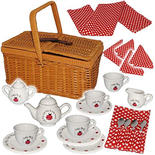 alles-meine.de GmbH 28 TLG. Set: Picknickkorb -  Teeservice & Kaffeeservice - Marienkäfer - Punkte  - Geschirr aus Porzellan / Keramik - Puppengeschirr - Picknick-Korb / Pickni..
