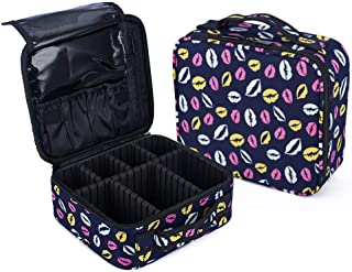 Lvyinyin Makeup Train Case Travel Cosmetic Bag Organizer, Professional Portable 10.2 in Hanging Storage with Adjustable Dividers for Women Make up Brushes, Toiletry Jewelry (Yello Lipsticks)