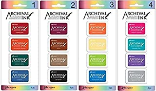 Ranger - Archival Mini Ink Pads Kits 1-4, Bundle of Kit 1, 2, 3, and 4