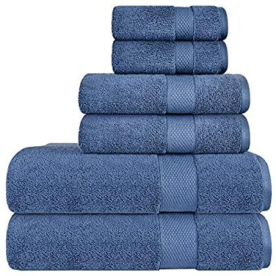 Classic Luxury Bath Towel Set,100% Cotton Towel 6 Piece Set, Soft, High Absorbent Towels for Bathroom, Shower Towel,Include 2 Bath Towel, 2 Hand Towel and 2 Wash Cloth(Navy Blue)