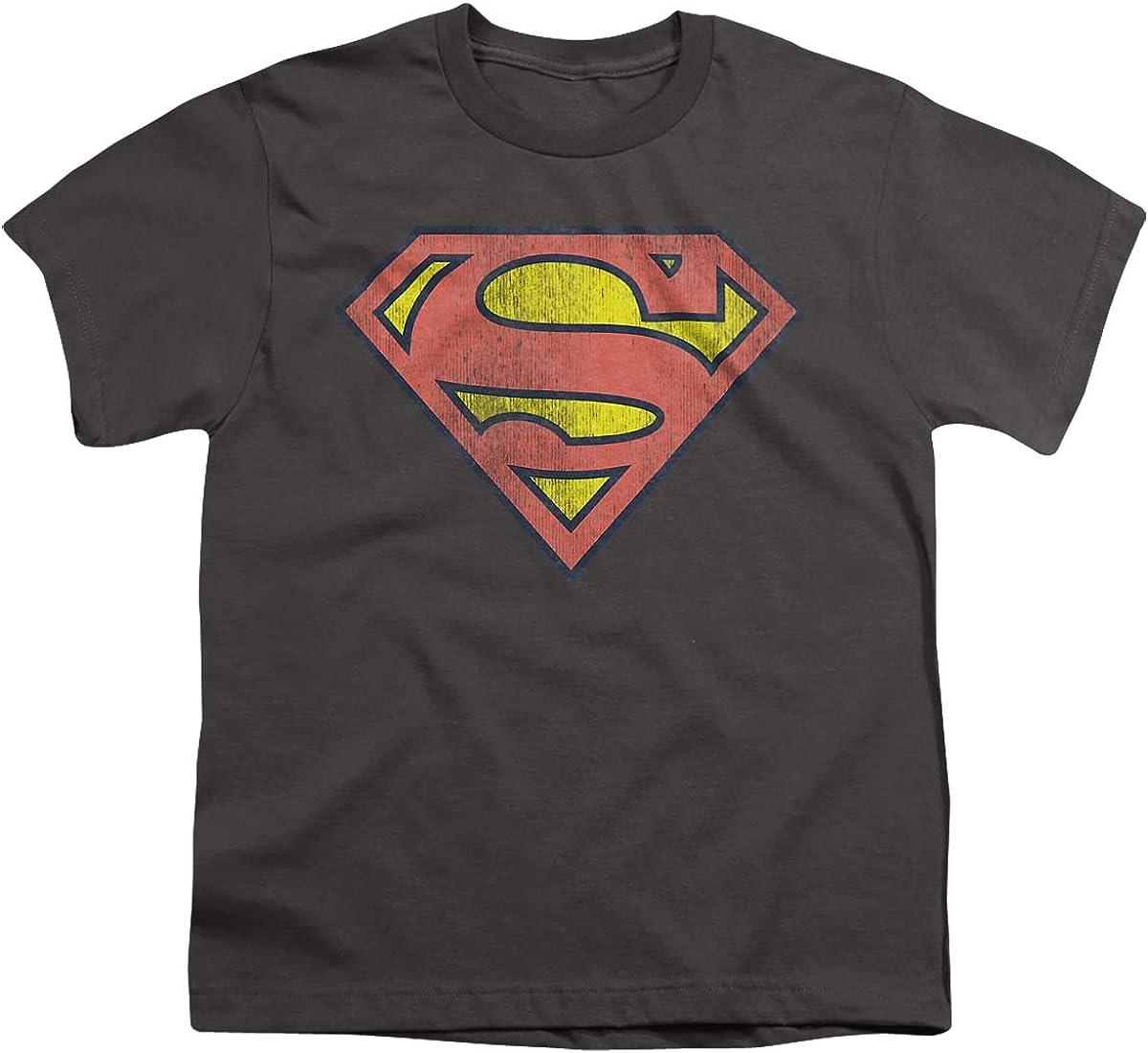 DC Retro Supes Logo Distressed Unisex Youth T Shirt, Charcoal, Medium