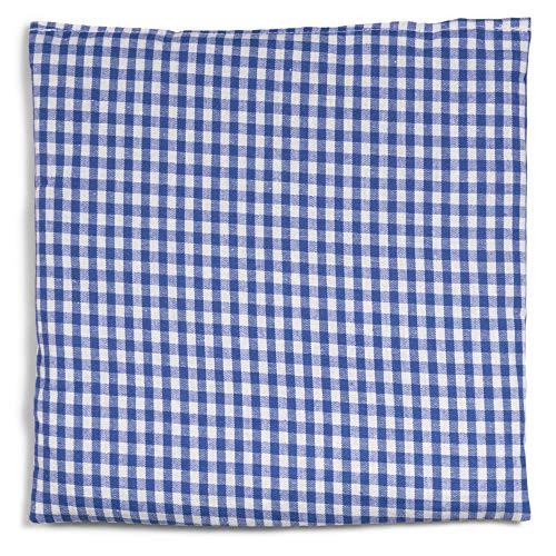 Kirschkernkissen 19x19cm blau-weiß | Wärmekissen und Kältekompresse. Kirschkernsäckchen für Mikrowelle, Backofen, Gefrierfach