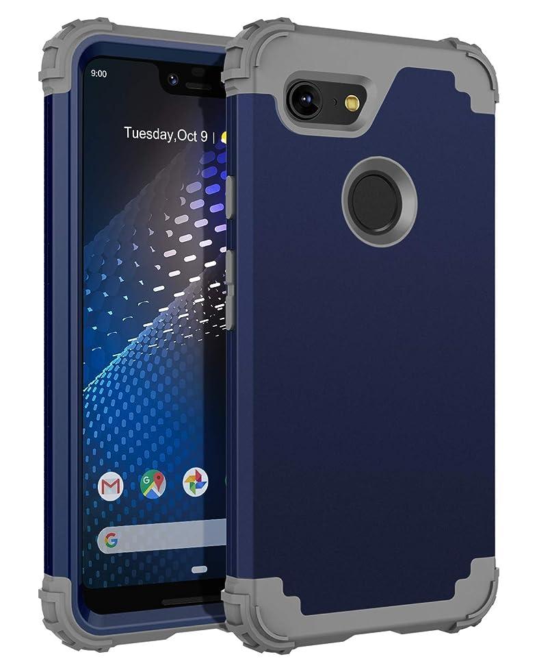 BENTOBEN Case for Google Pixel 3 XL, 3 in 1 Heavy Duty Full Body Protective Hybrid Hard PC Soft Rubber Rugged Bumper Shockproof Anti Slip Durable Sturdy Phone Covers for Google Pixel 3 XL, Navy Blue c769005975