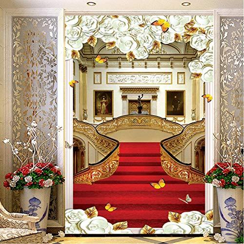 Wuyii hoogwaardige Europese stijl trap tapijt fotobehang behang woonkamer hotel ingang hal achtergrond behang 3D 400 x 280 cm.